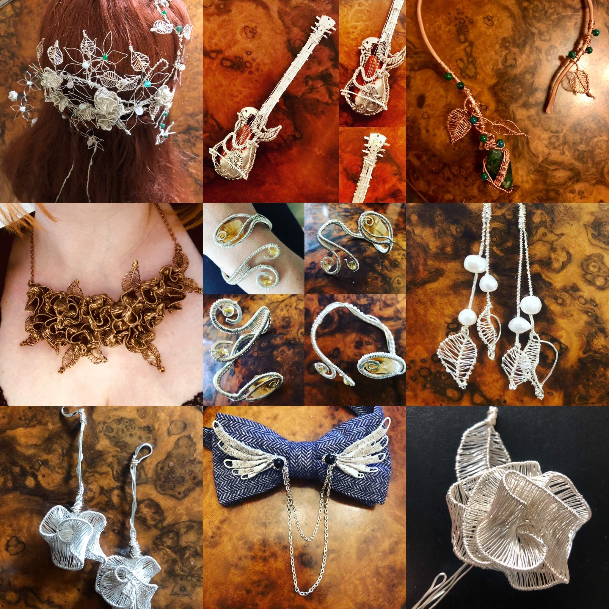 Examples of wedding jewellery and accessories