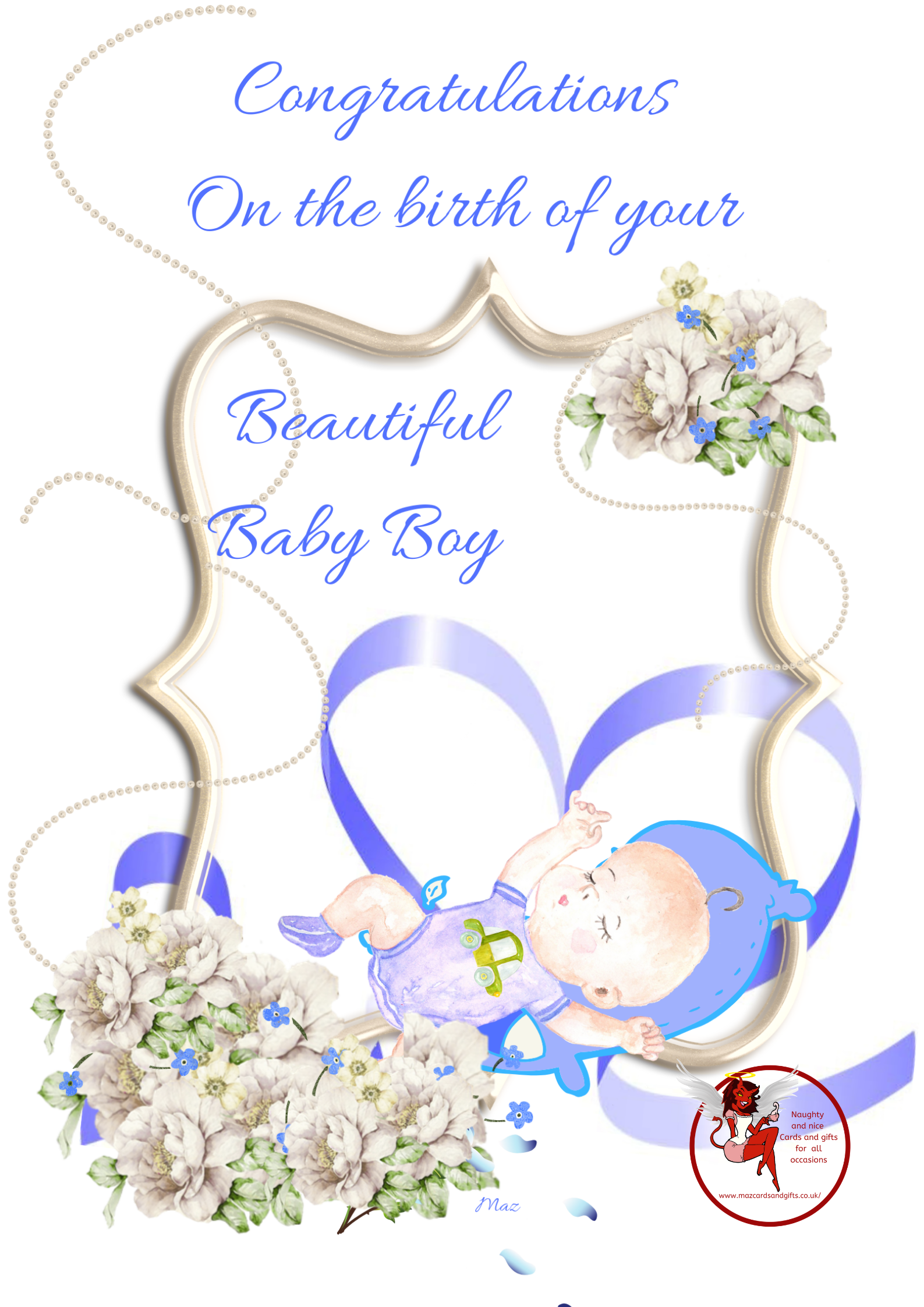 New Baby - Birth of a baby Boy - Flowers Pearls and ribbon - Order No 073