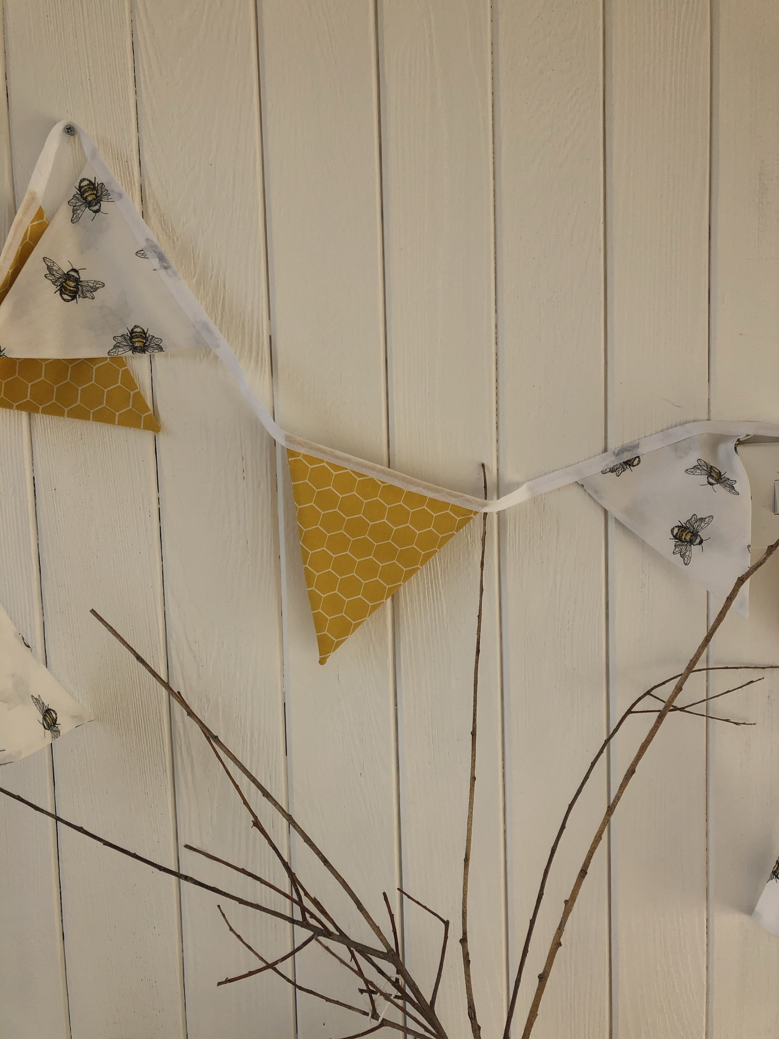 Approximately 3 metres of Bee themed bunting. All bunts double sided. £15