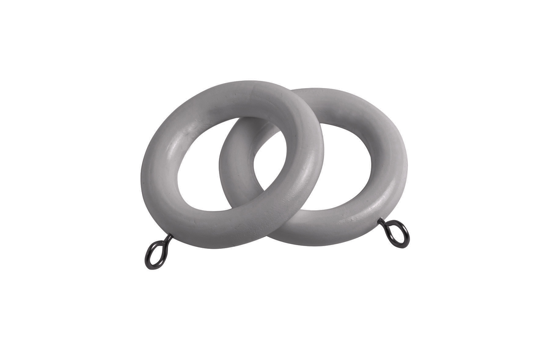 County 28mm Wooden Curtain Rings Light Grey - 4 Pack
