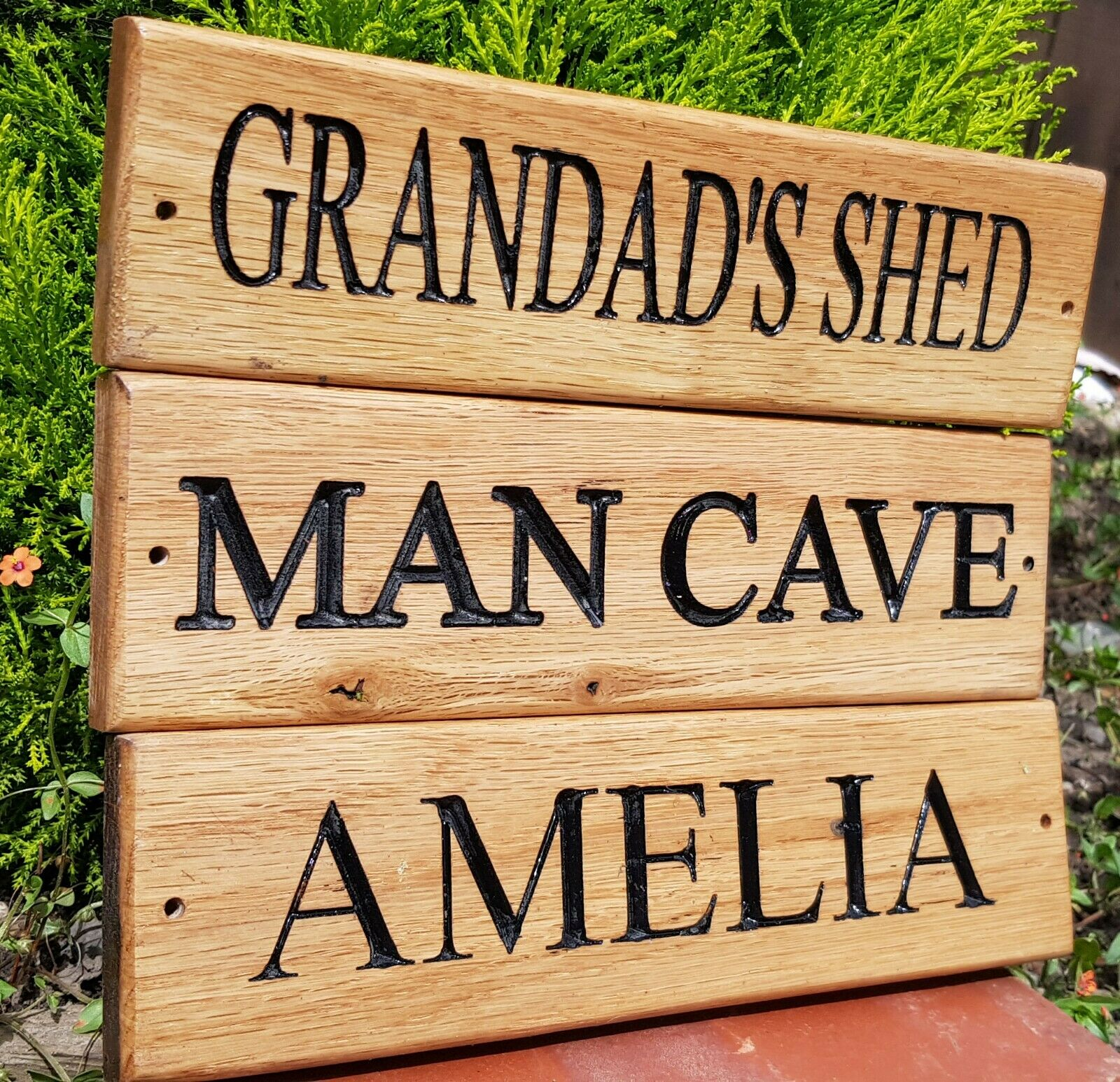 Custom Engraved Outdoor Wooden Name Plaque Carved Personalised Oak House Sign