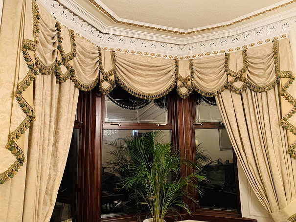 Long Cream Damask Style Pencil Pleat Curtains W445 D298