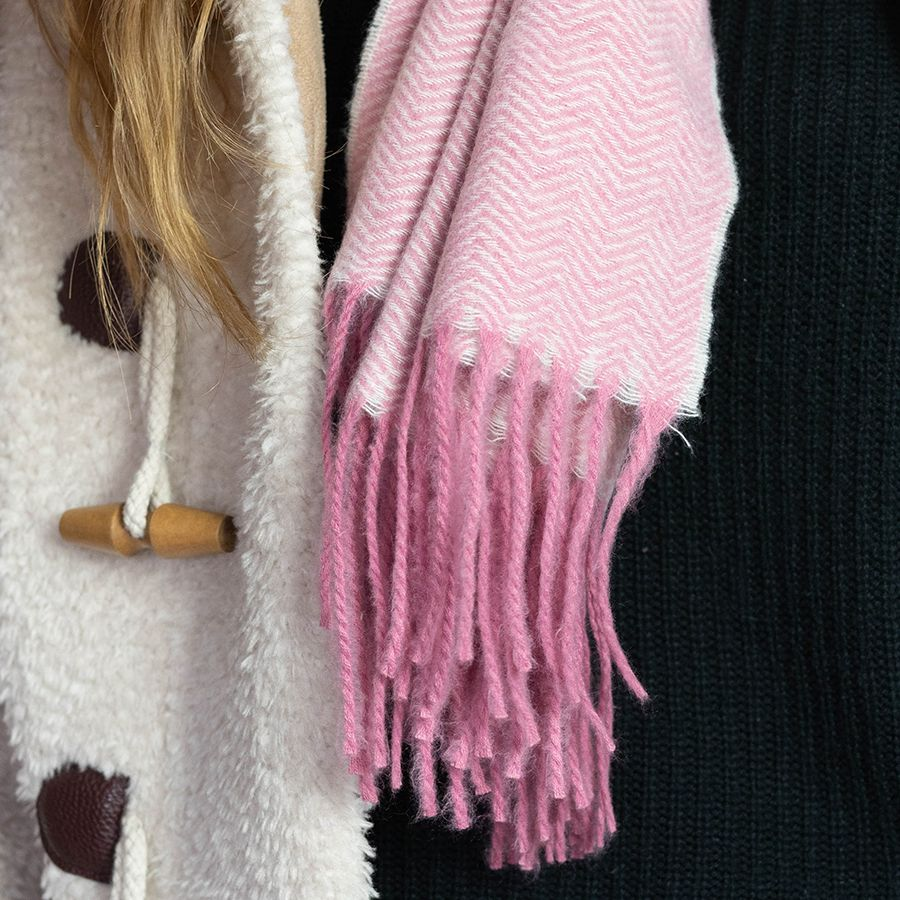 Pink Herringbone Weave Scarf with Fringes