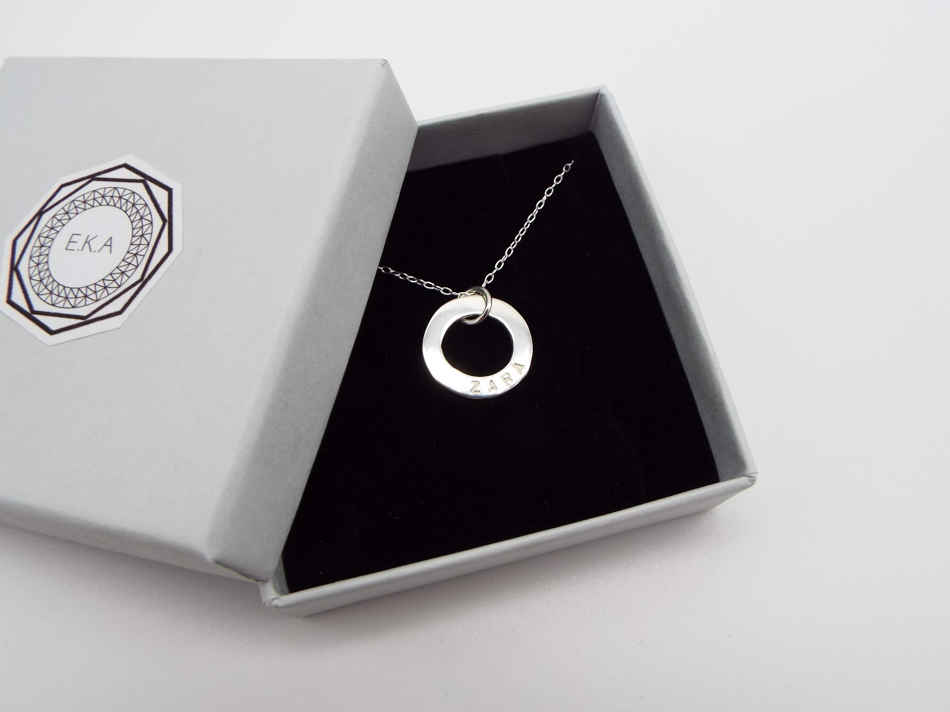 Name Necklace - Silver Circle Pendant
