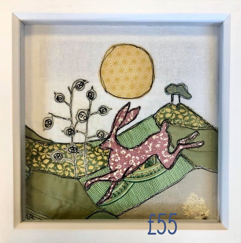 Framed free motion embroidery taking inspiration from the Dorset countryside. £55