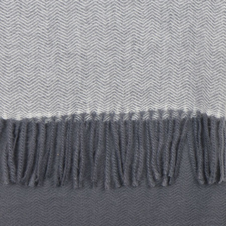 Grey Herringbone Weave Scarf with Fringes