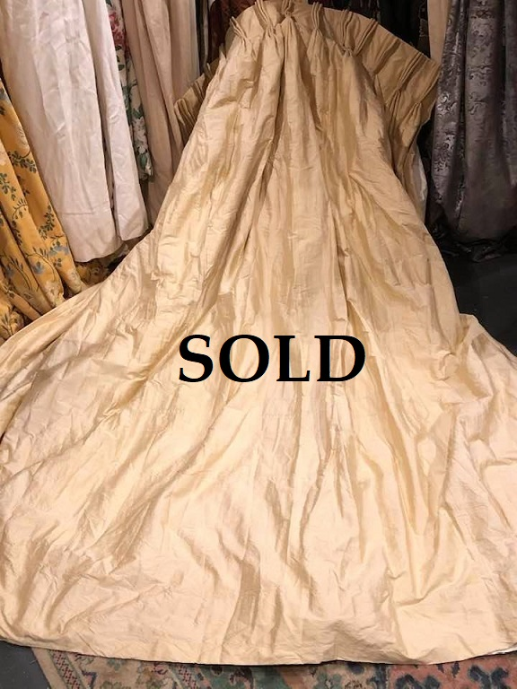 Yellow Gold Silk Blackout Interlined Curtains W314 D267