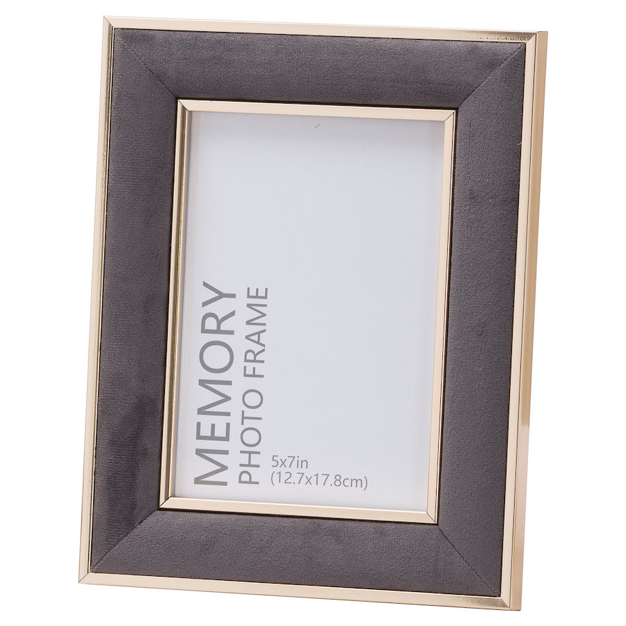 Grey Velvet Picture Frame - 5 x 7 inches