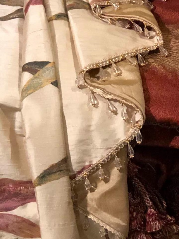 Beautiful Cream Silk Interlined Curtains W262 D226