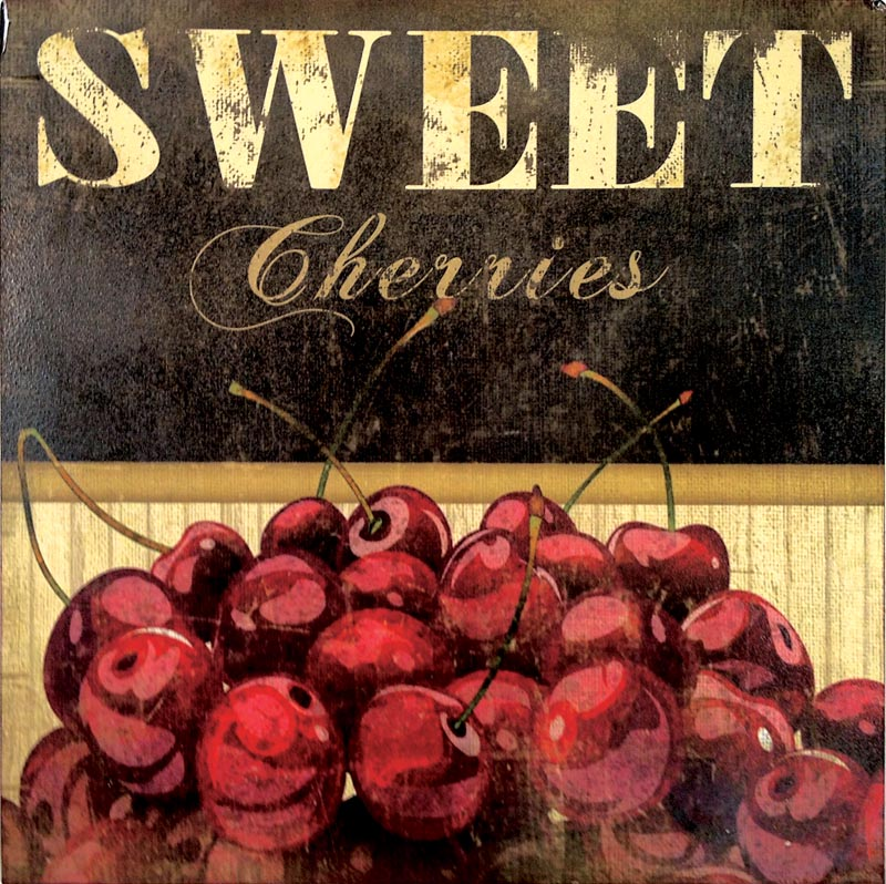Metal Sweet Cherries wall plaque