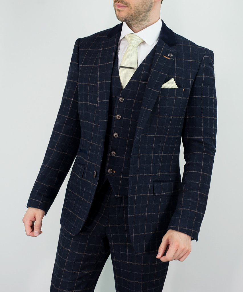 3f5218b029f3 Shelby Navy Tweed Check. Our brand new Peaky Blinders inspired Shelby Three Piece  Suit featuring a Cavani ...