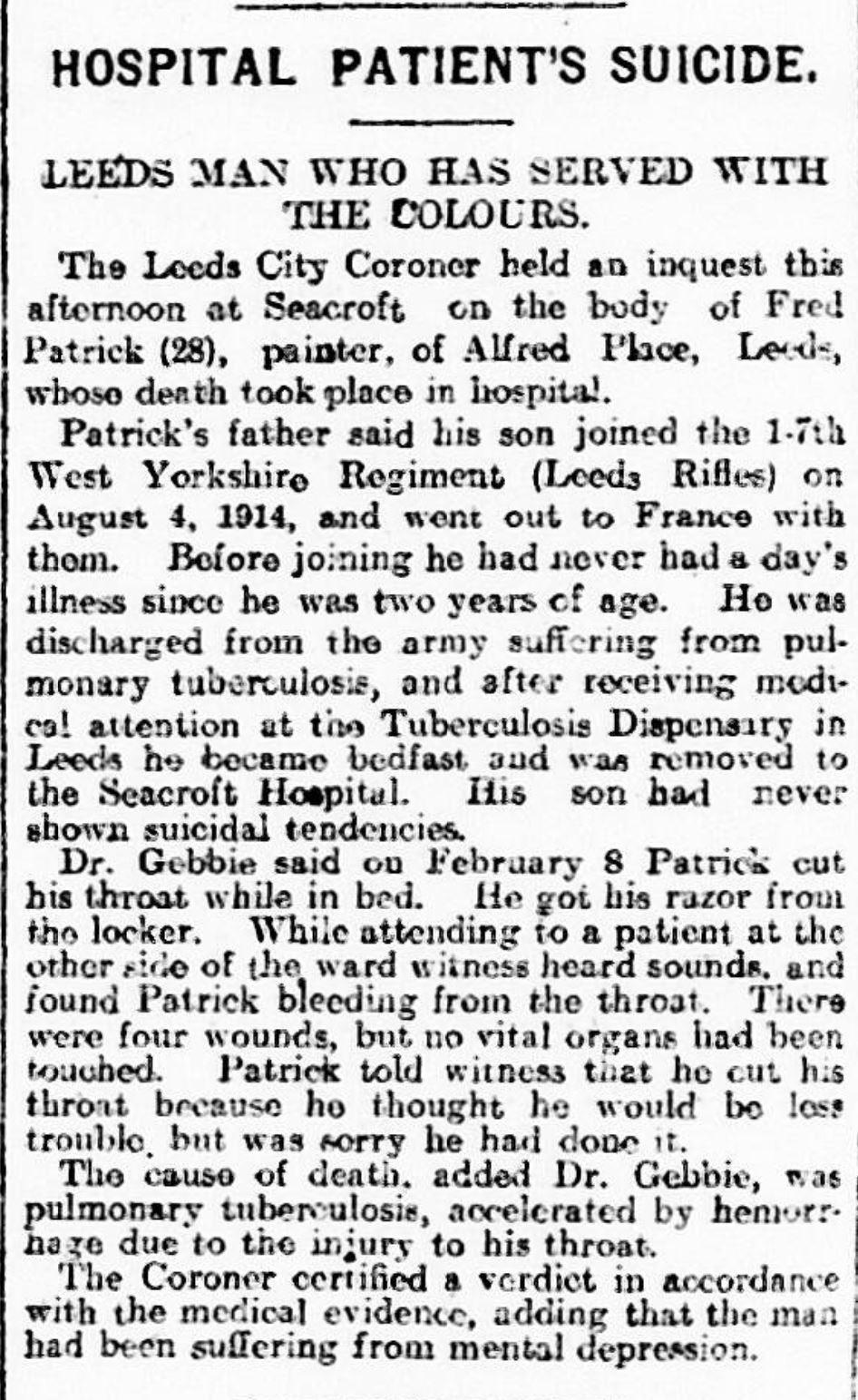 Yorkshire Evening Post 19190321 Fred PatrickJPG