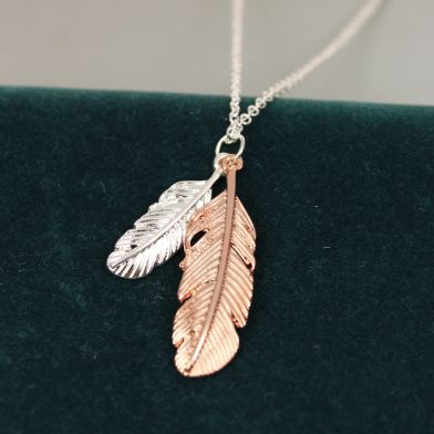 POM011 Silver Plated/Rose Gold Feathers Necklace