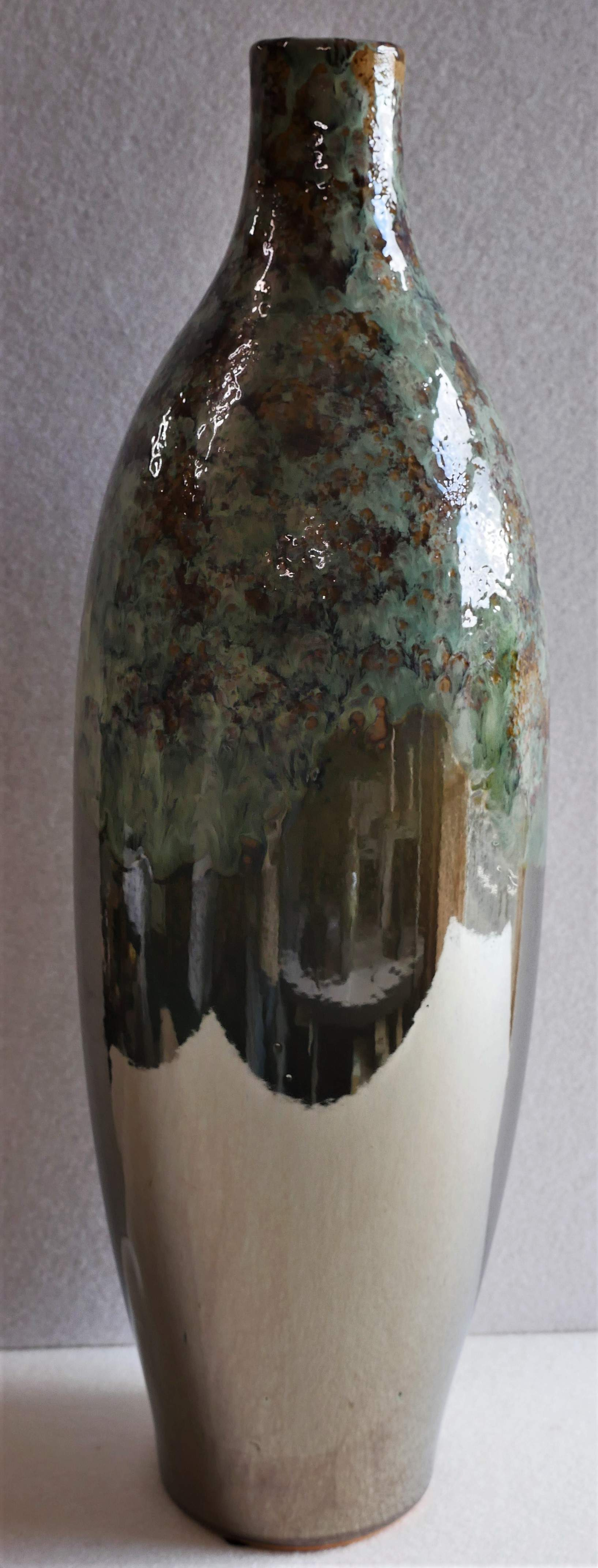 Tall green handmade vase