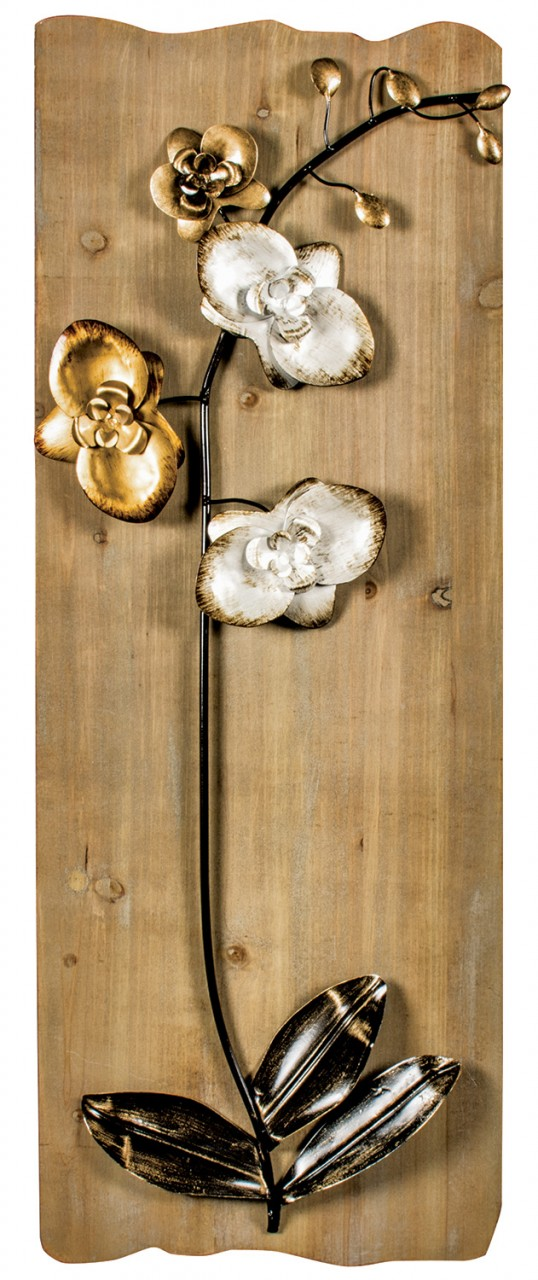 Metal flower wall art mounted on wood.
