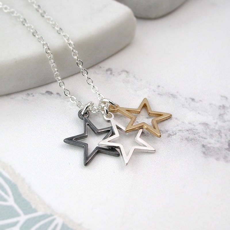Silver Chain Necklace with 3 Open Stars
