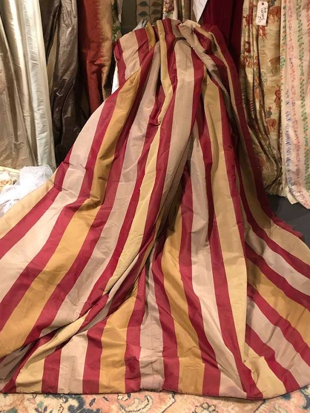 Long Striped 'Shabby Chic' Silk Curtains W360 D230