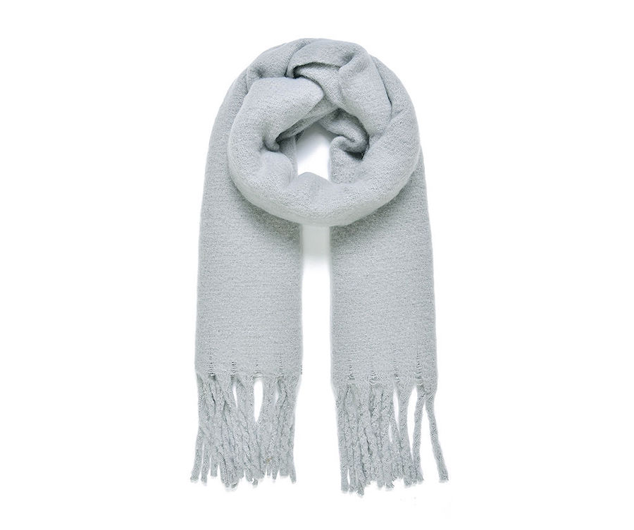 Cosy Blanket Scarf with Tassels in Pale Grey
