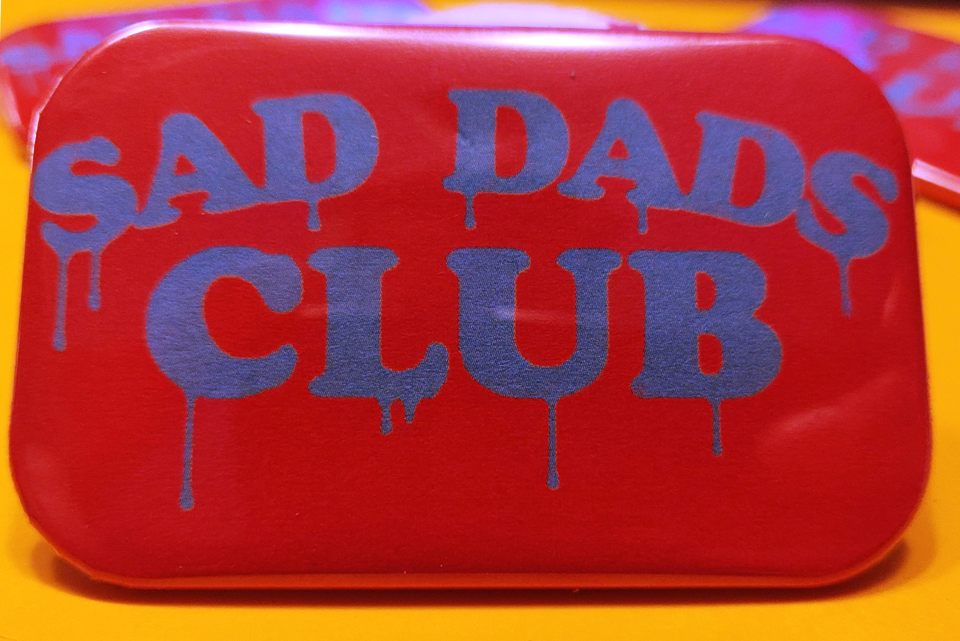 'Sad Dads Club' rectangular trad-badge