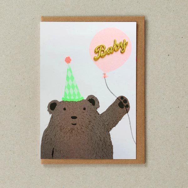 New Baby Card with Bear and Balloon by Petra Boase