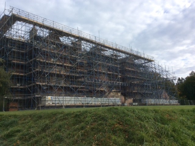 Eildon Hall House is unrecognisable under a mass of scaffolding