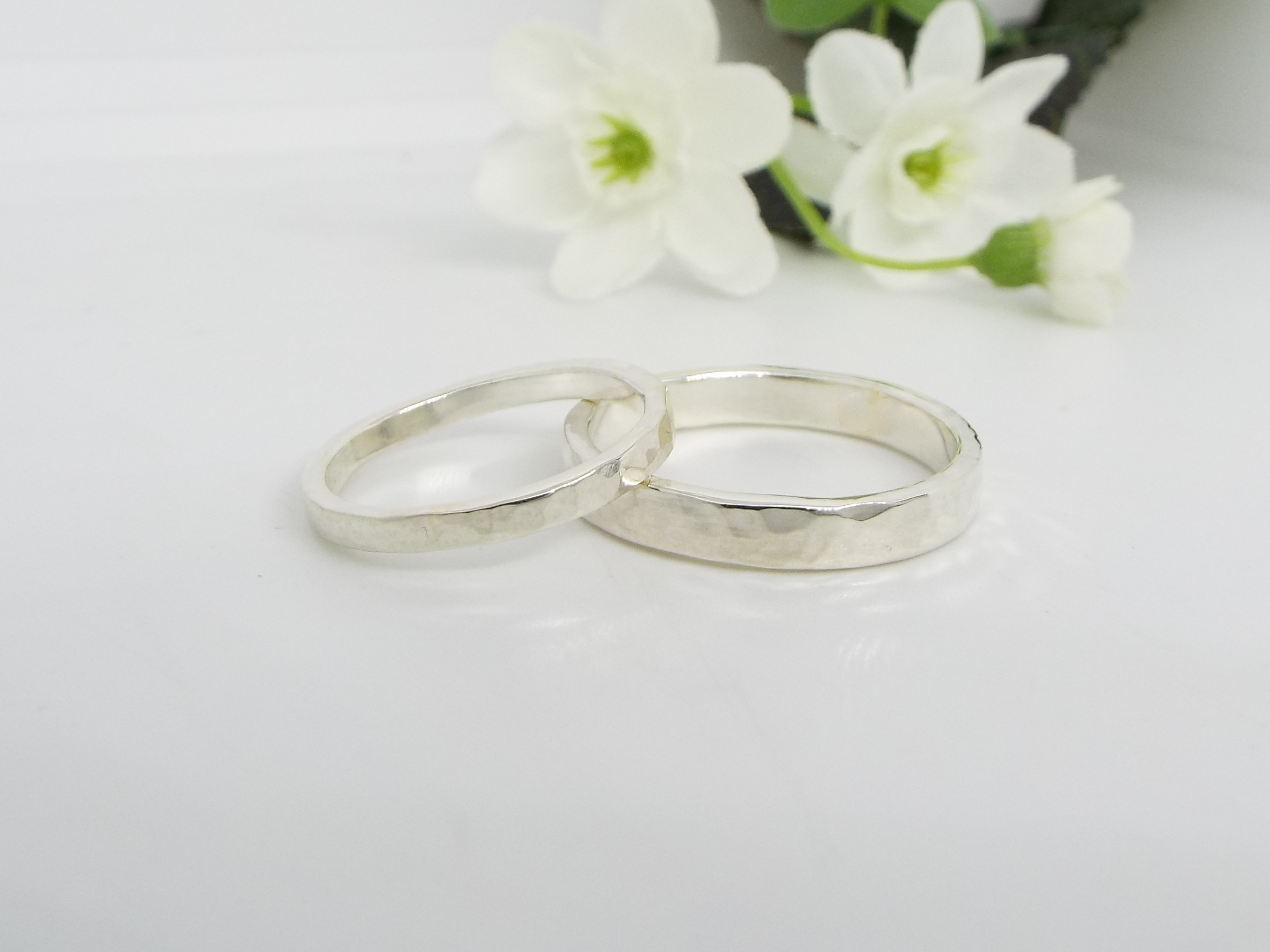 His and hers - Sterling Silver Rings - Hammered