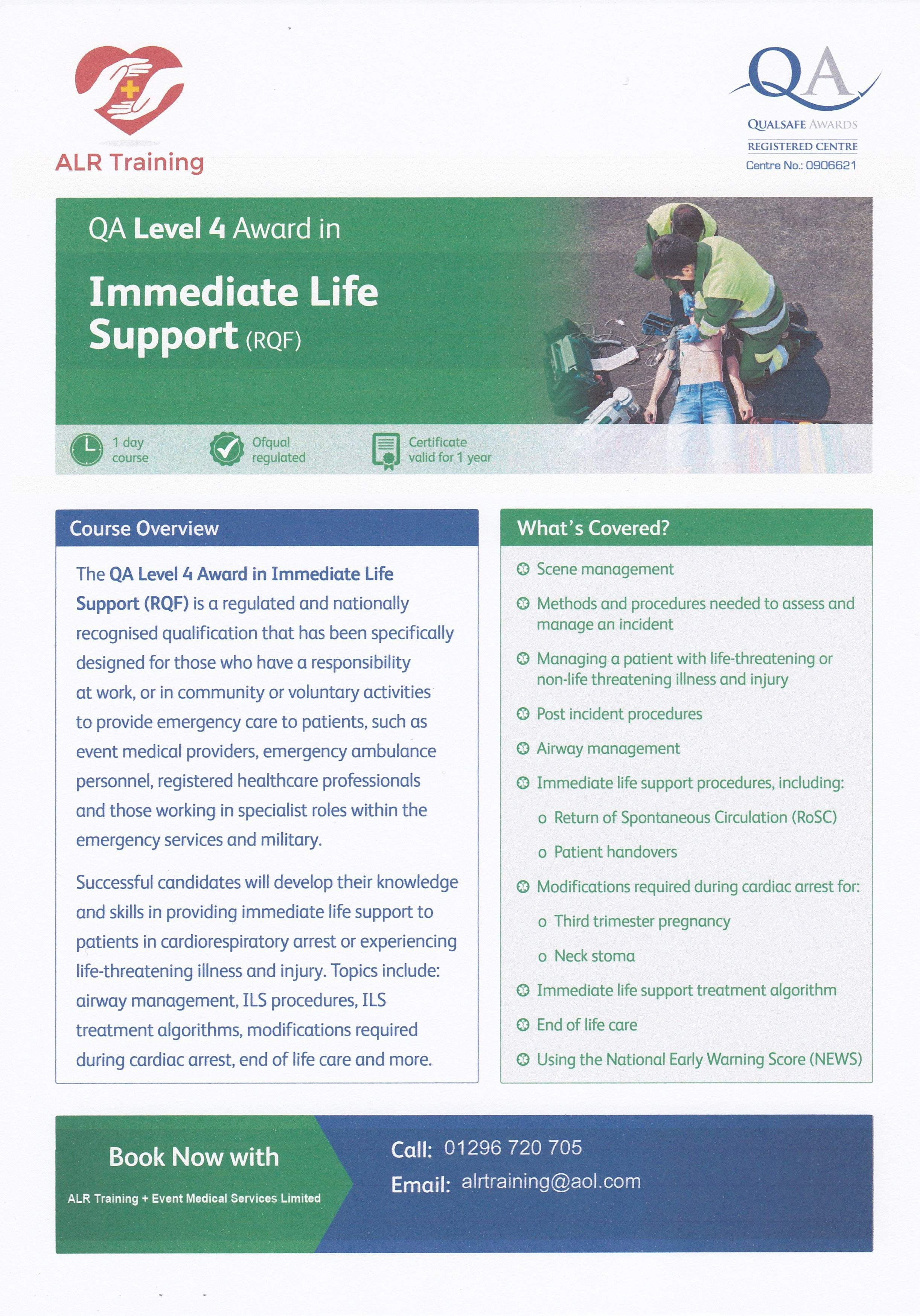 Level 4 Immediate Life Support (ILS) course 27 June 2021