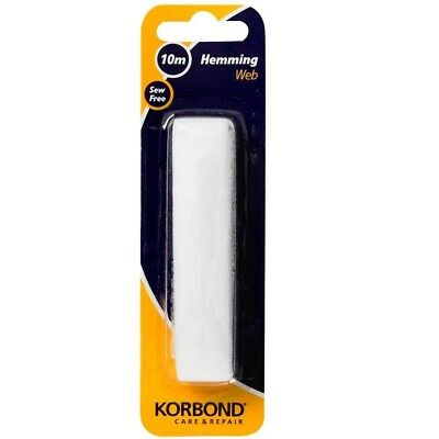 Korbond White Iron On Hemming Web 10M