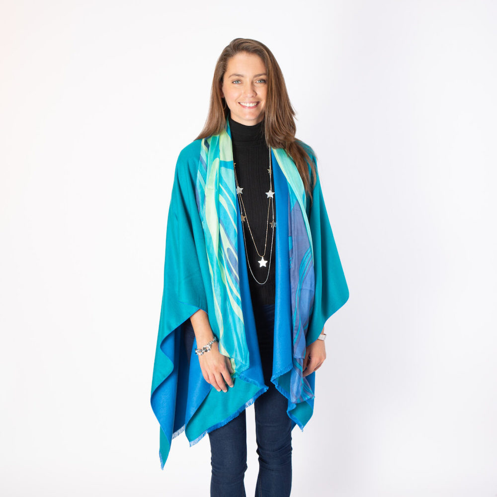 Demi Silk Scarf in Turquoise