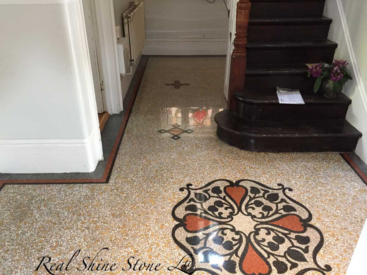 Restoration of 120 years terrazzo medallion