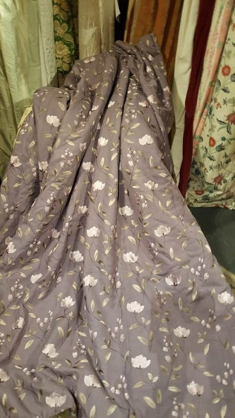 Wide Mauve Linen Pinch Pleat Interlined Curtains W340 D224