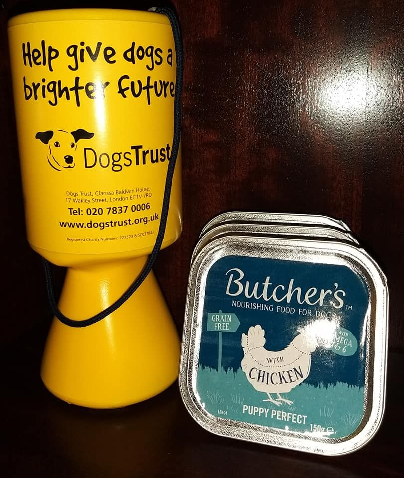 We provide free dog food though a donation to The Dogs Trust is appreciated
