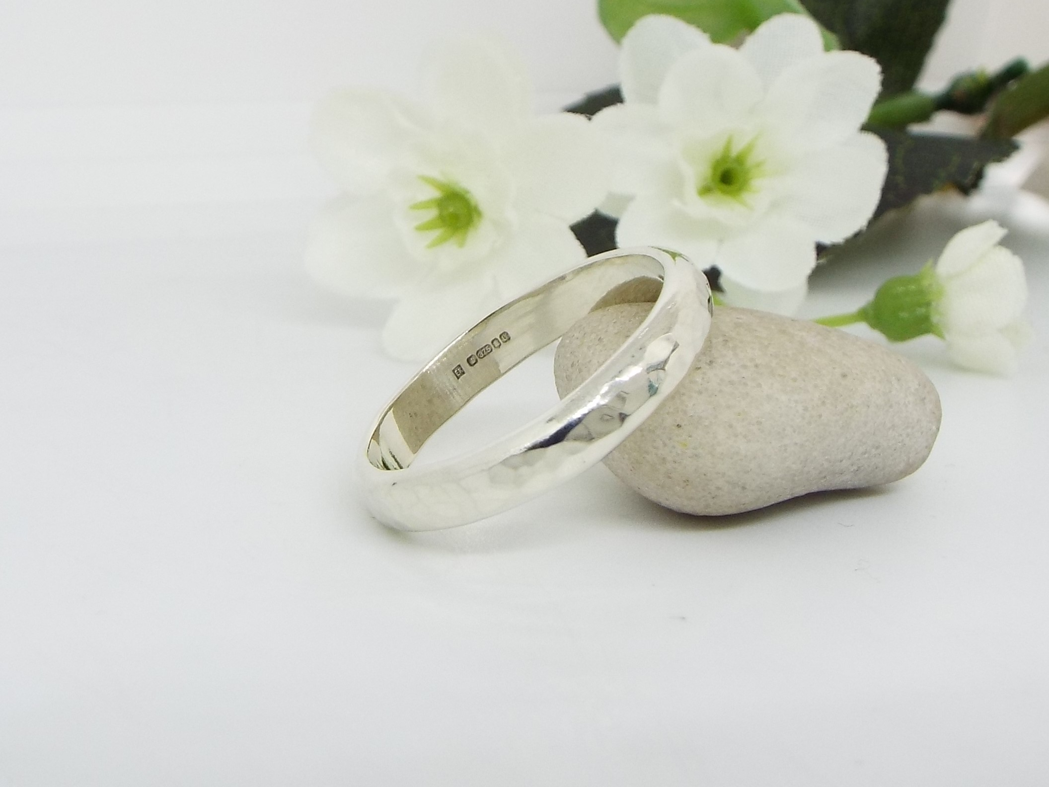9ct White Gold Hammered Wedding Ring -  Wide