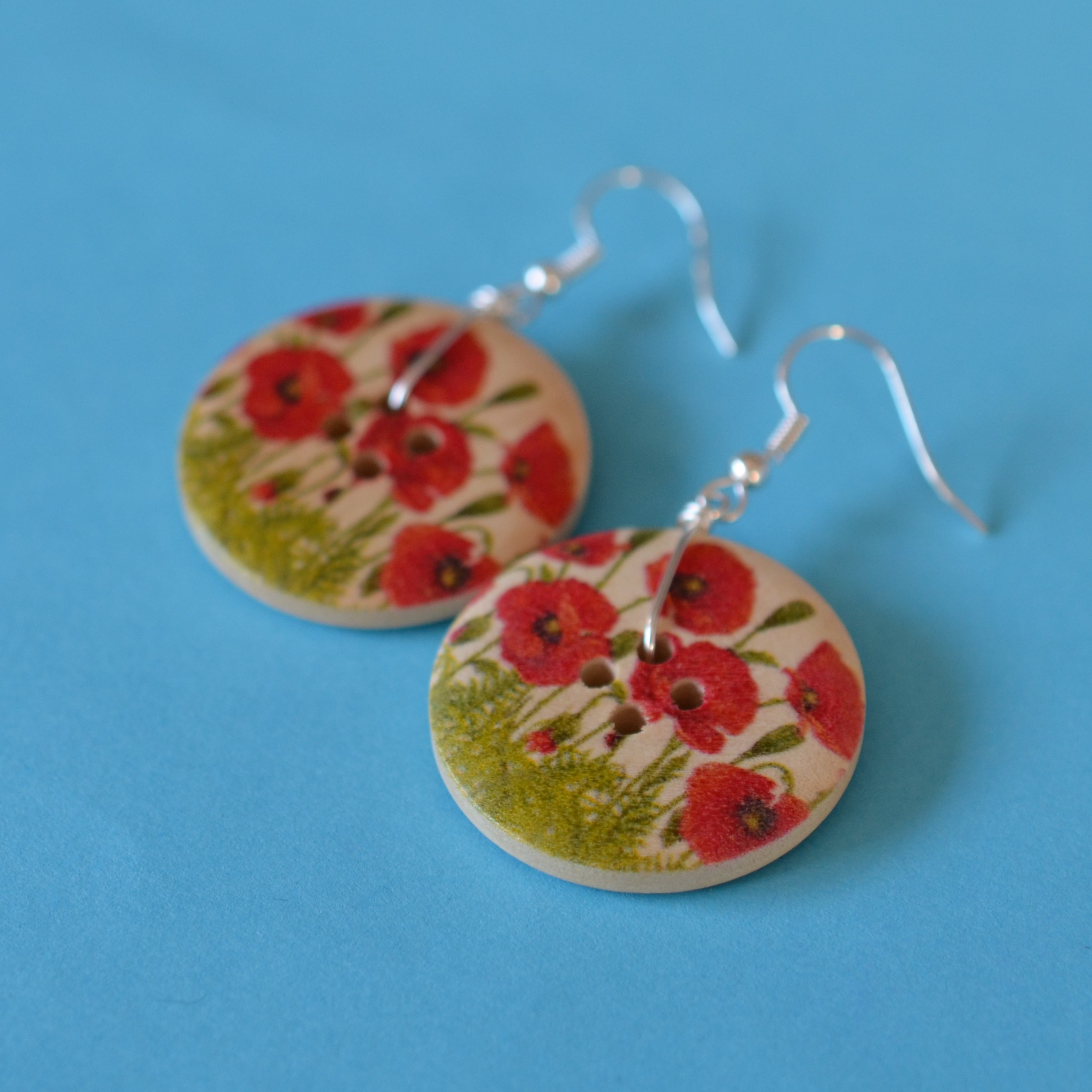 Poppy Single Button Earrings