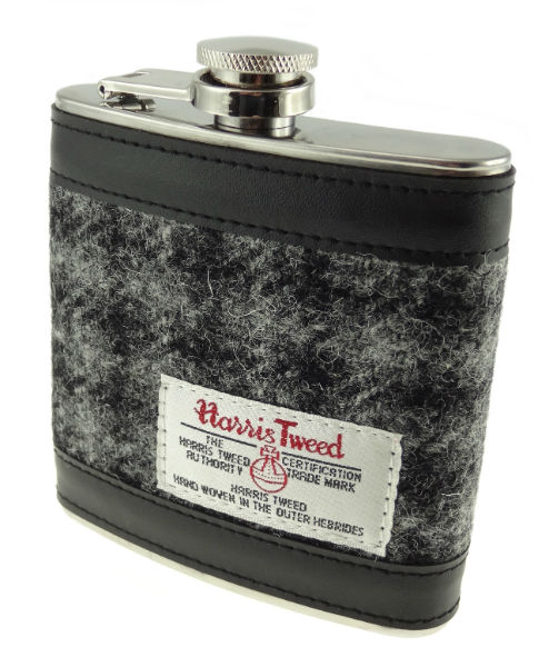 Hip Flask with Harris Tweed in Colour 61 Grey GA006