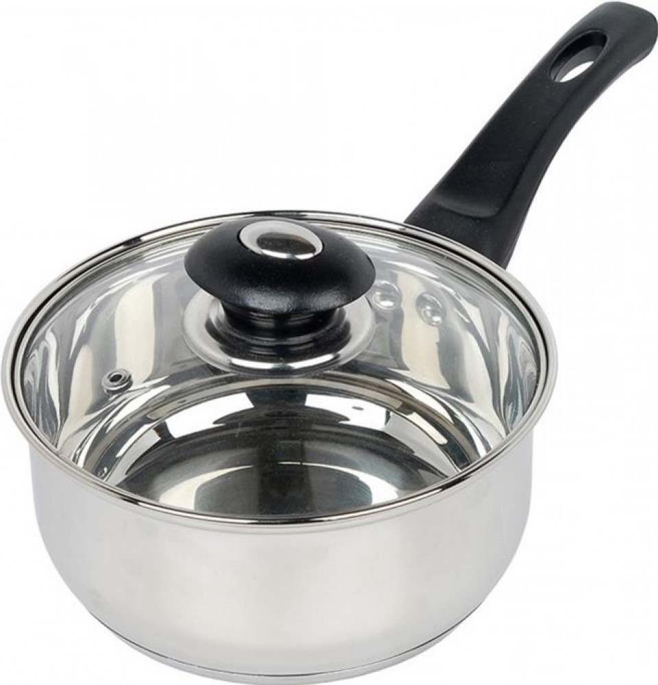 Home Cook 20CM Stainless Steel Saucepan With Glass Lid