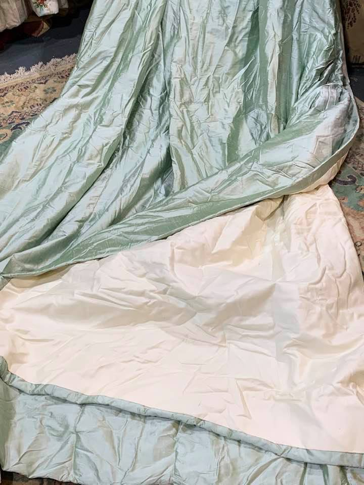 Stunning Pistachio/Peppermint Silk Pinch Pleat Curtains