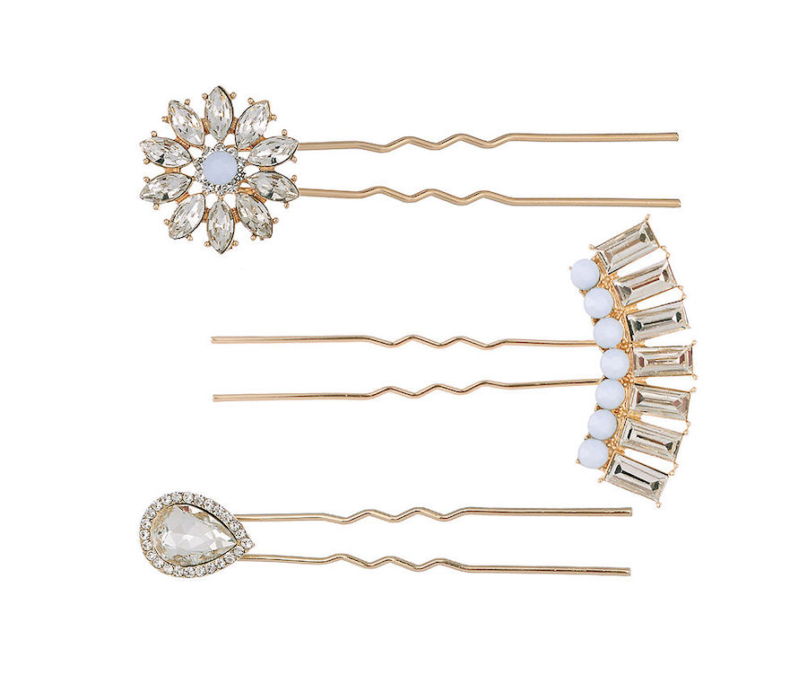 Set of 3 Gemstone Hair Pins