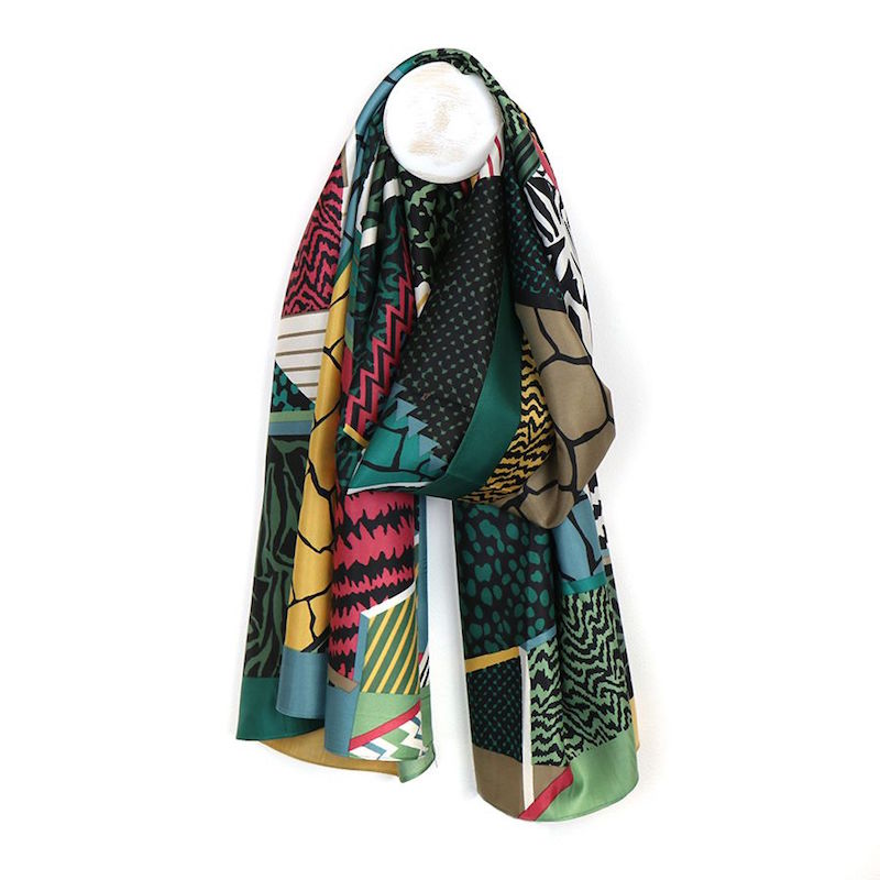 Green Silky Scarf with Geometric Print