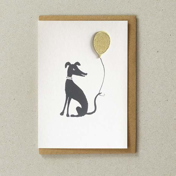 Greyhound Card with Gold Iron-On Balloon Patch