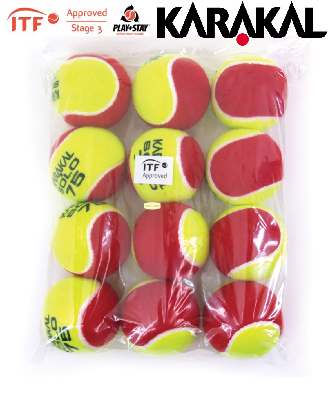 Karakal Solo 75 Transition Low Pressure Tennis Balls Pack of 12 balls