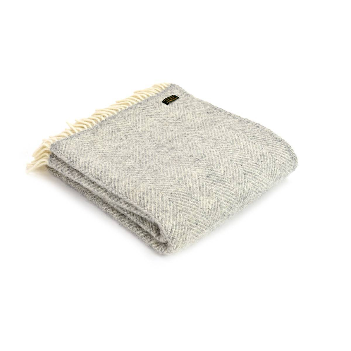 Silver Grey Pure New Wool Throw