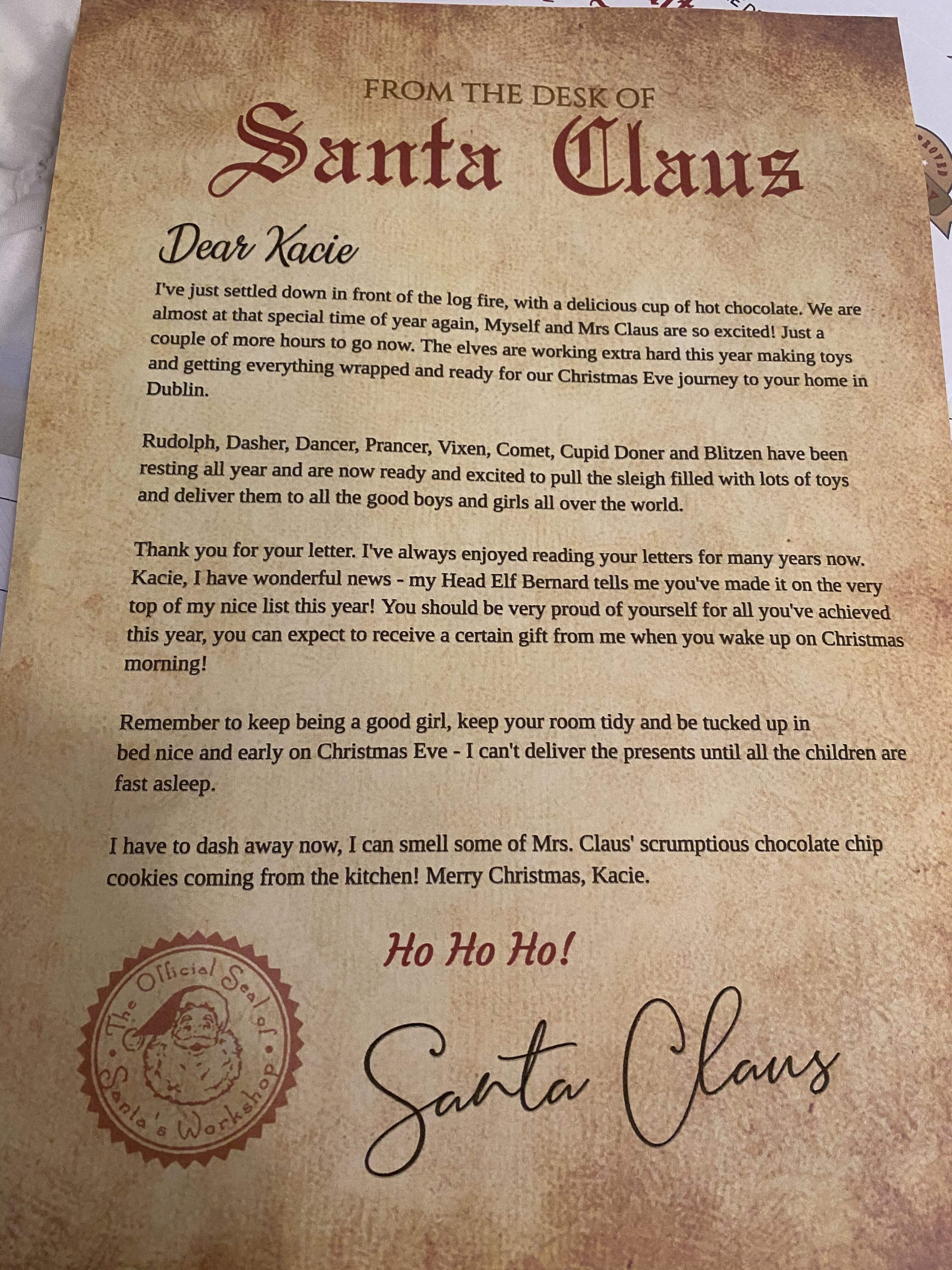 Personalised North Pole Santa Letter Nice List Certificate Magical Reindeer Food