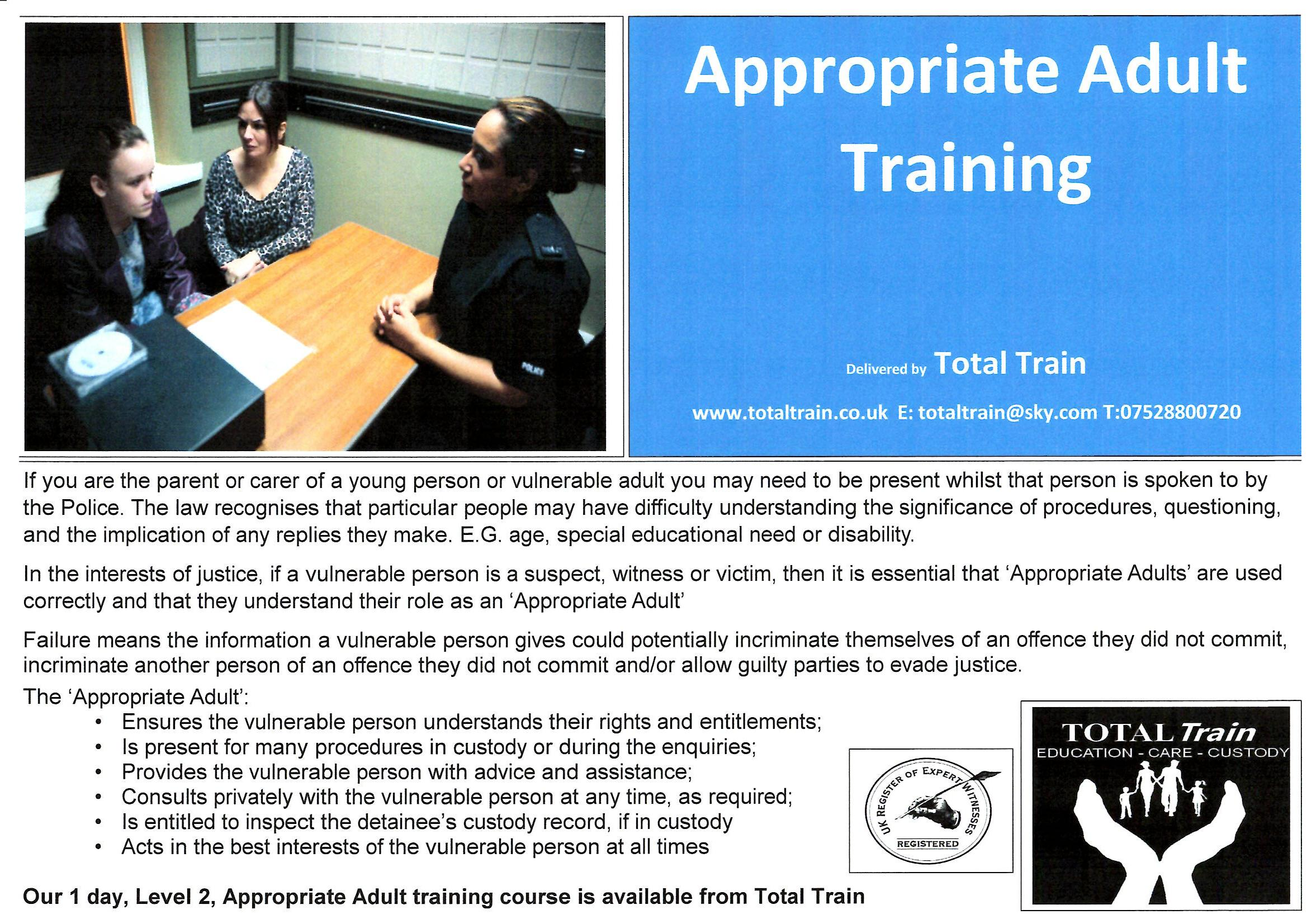 Appropriate Adult Training
