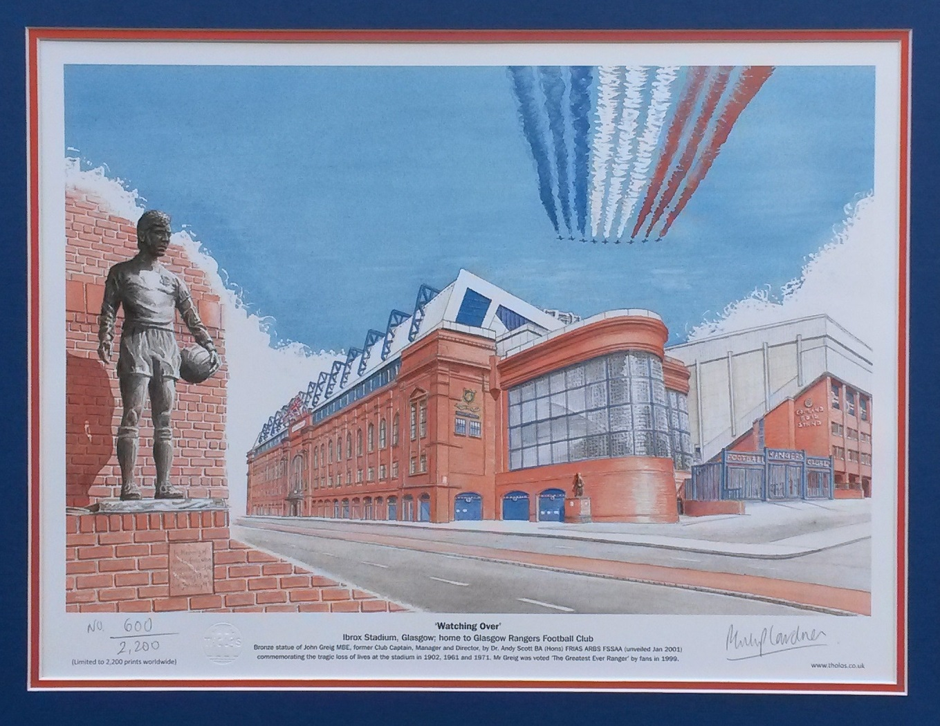 'Watching Over' Rangers FC fine art print - unframed