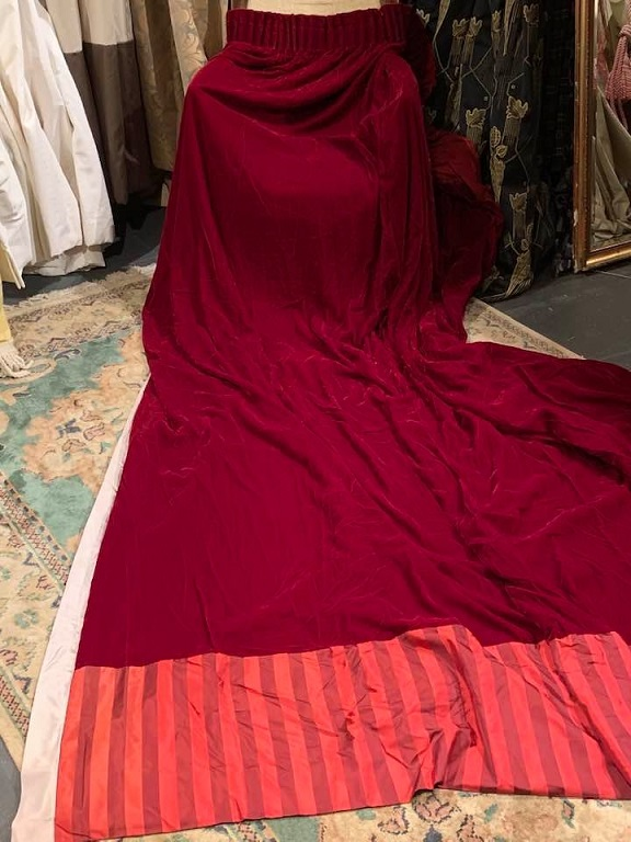 Beautiful Long Red Velvet Curtains W234 D292