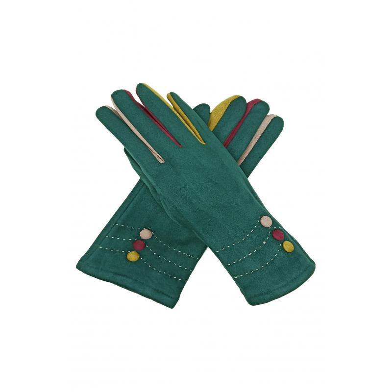 Green Suede Effect Gloves with Multi-Fingers and Buttons