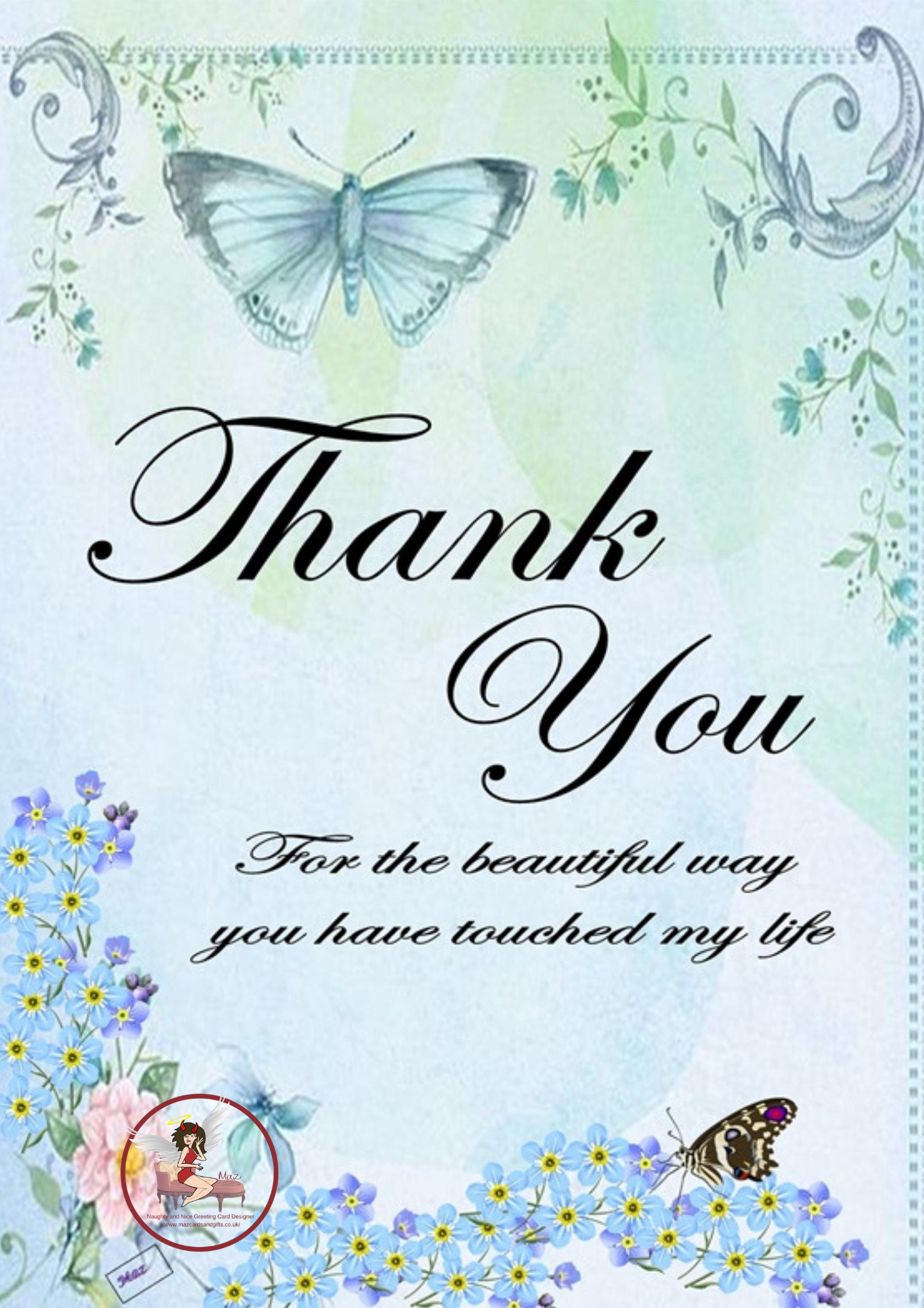Thank You ~ Butterflies and Flowers ~ Order No 168