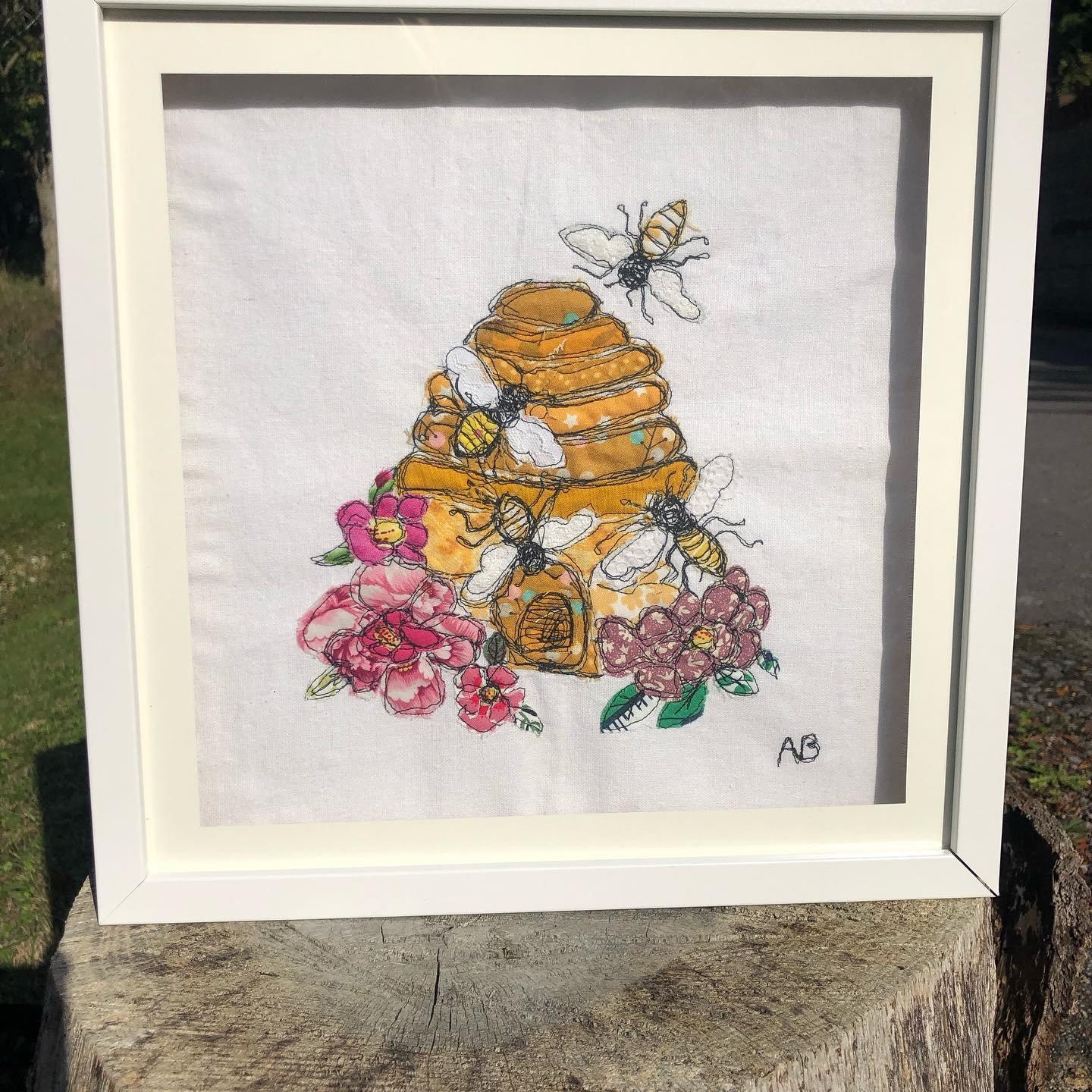 Framed freemotion embroidery using fabric and lace. £65