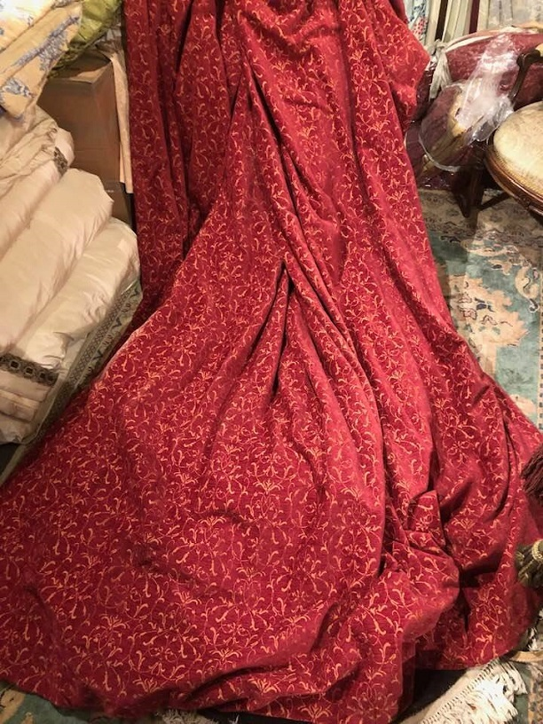 Large Red Chenille Interlined Curtains W272 D297